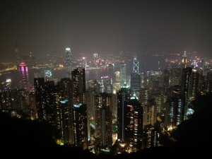 Hong Kong nocą ze Wzgórza Victorii