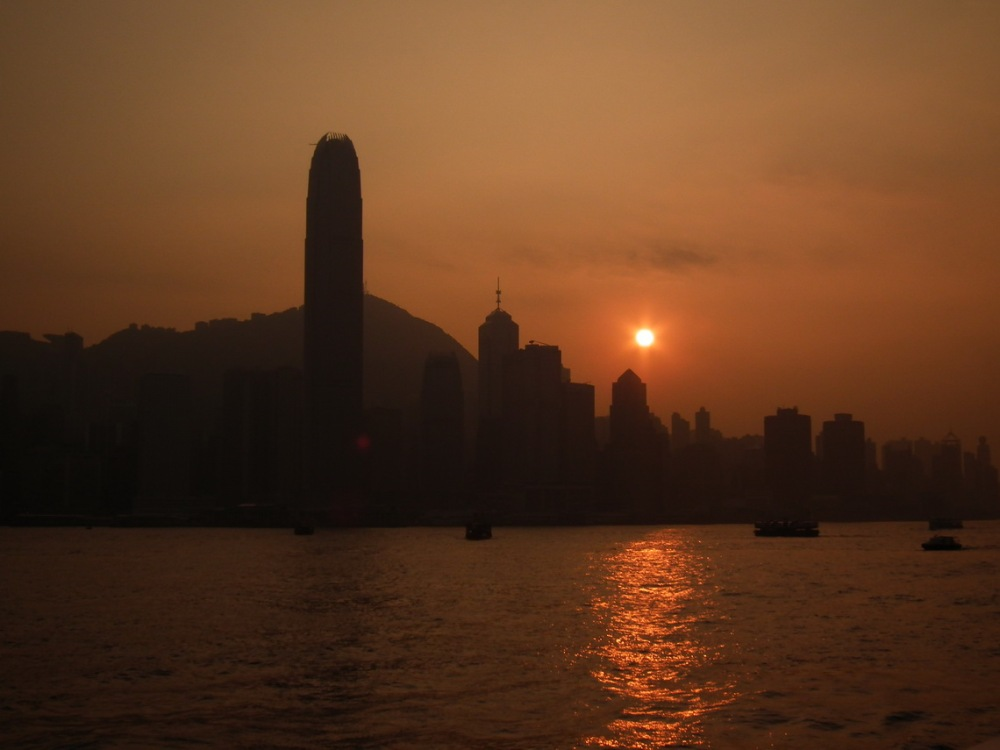 Zachód słońca nad centrum