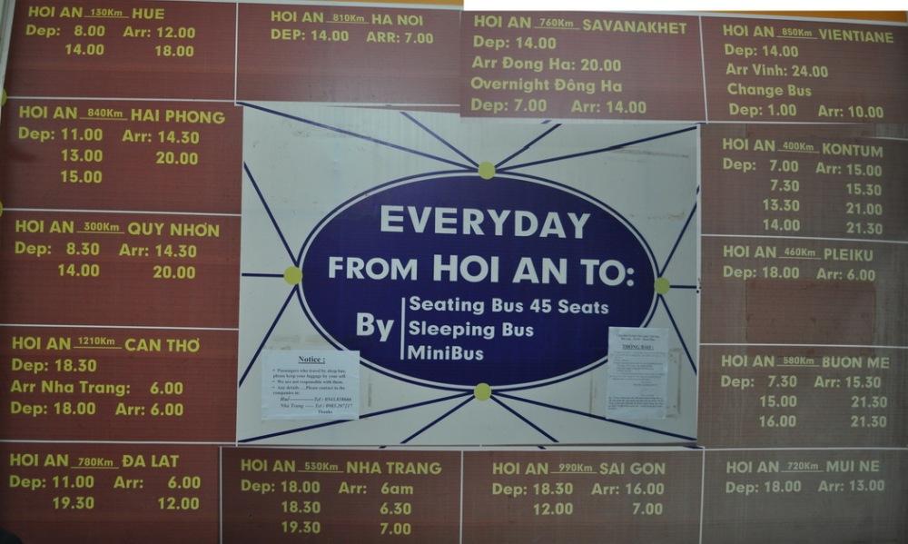 """Rozkład autobusów """"Open-tour"""" w Hoi An"""