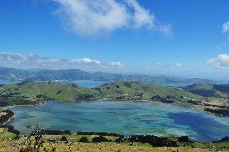 Widok z Mt Charles na Półwyspie Otago